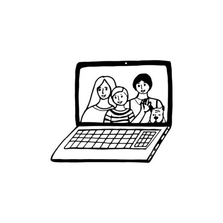 Doodle single element of digital devices - laptop, computer. Ð¡ommunication with family. Hand drawn vector sketch illustration isolated over white background.