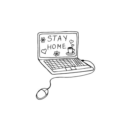Doodle single element of digital devices - laptop, computer.  Cute vector hand drawn doodle about coronavirus, Covid-19, Stay Home, stay safe. Pandemic protection.