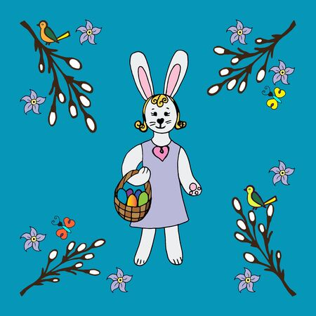 Happy easter vector illustration.Easter bunny with a basket full of decorated Easter eggs