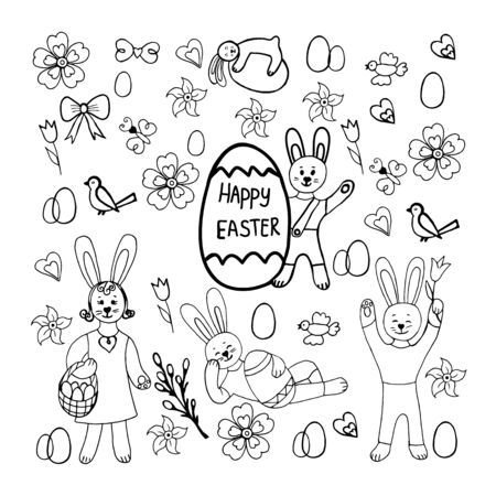 Cute vector hand drawn doodle set about Happy easter.