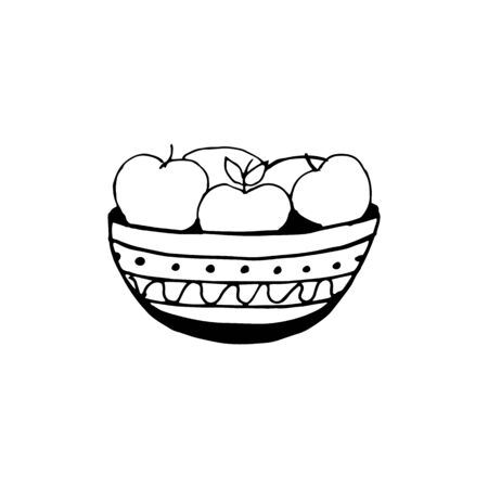 Doodle single element of bowl with apples. Hand drawn vector sketch illustration isolated on white background.
