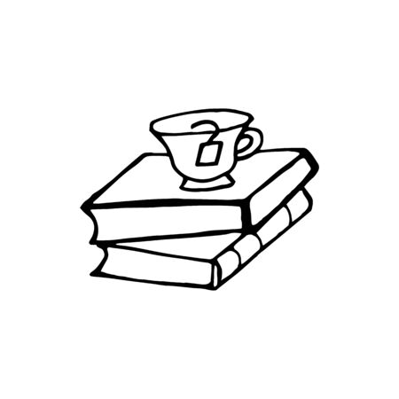 Doodle element of Book and tea with study and education concept. Hand drawn vector sketch illustration isolated on white background.