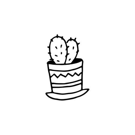Cute hand drawn vector cactuse in the pot. Hand drawn vector sketch illustration isolated on white background.