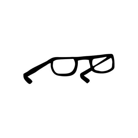Cute hand drawn vector Glasses. Hand drawn vector doodle illustration isolated on white background. Illustration