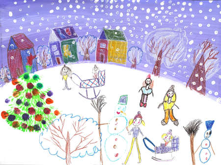 Watercolor Children Drawing.Kids winter sleigh ride