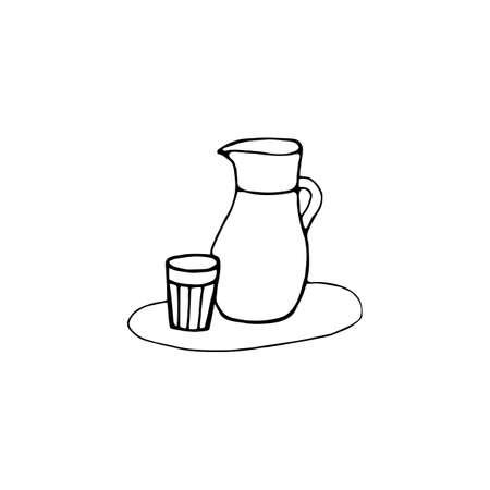 Glass water jug in a doodle style. Hand drawn vector illustration isolated on white background