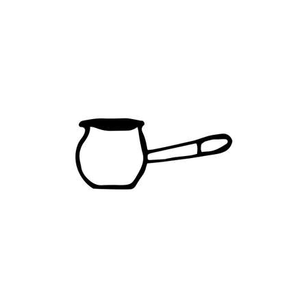 Turkish coffee making in a doodle style. Brewing hot tasty drink in a cezve. Sketch cezve. Hand drawn vector illustration isolated on white background.