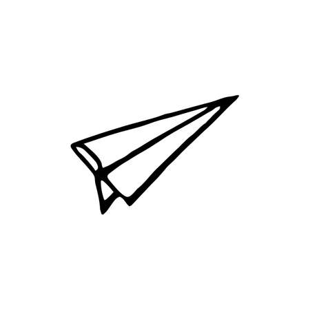 Paper airplane vector sketch in a doodle style. Hand drawn vector illustration isolated on white background
