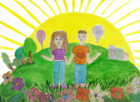 Child drawing of a happy family on a walk outdoors. Pencil art in childish style