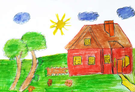 Child drawing of a country house. Pencil art in childish style