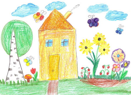 Child drawing of a country house