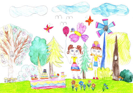 Child drawing of happy girls girlfriends. Picking mushrooms in the forest. Stock fotó