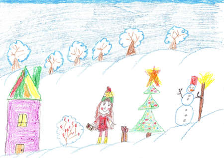Children playing beside Christmas tree and snowman. Child drawing