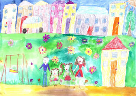 Child's drawing happy family, building, car.Lives of people in the city Foto de archivo