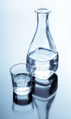 carafe and glass with alcohol