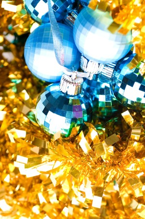 beautiful blue bauble on golden decoration Stock Photo