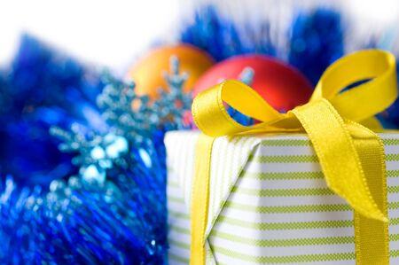 beautiful gift box on Christmas decoration background