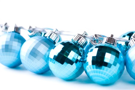 Blue Christmas baubles with silver ribbon isolated Stock Photo