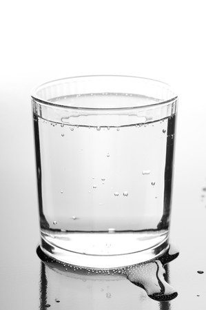 Glass with crystal-clear water