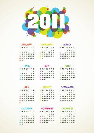 Vertical color calendar for 2011 year Illustration