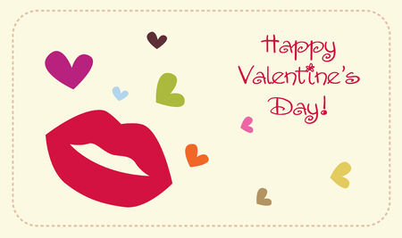 cartoon lips: valentines card vector