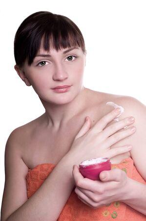 beatifull woman with cream on body Stock Photo - 8261568