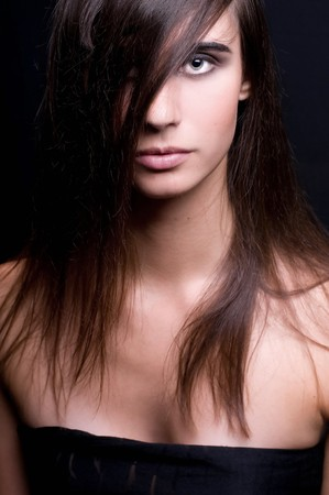beautiful brunette with magnificent natural hair
