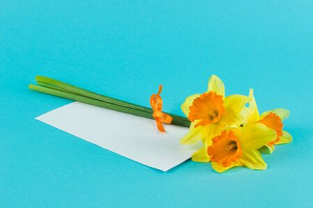 bouquet and paper card