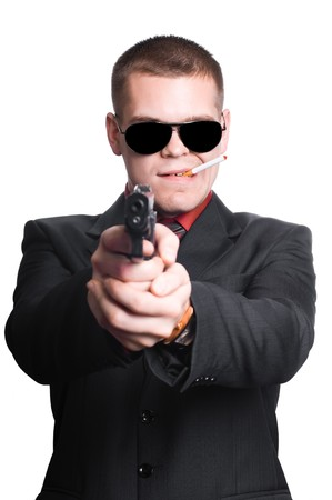 businessman man with gun