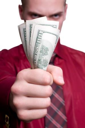 bolsa dinero: Hombre de negocios con pistola y dinero. Aislados en blanco  Foto de archivo
