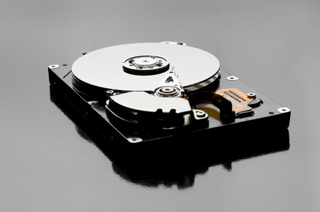 Close-up inside view of hard disk