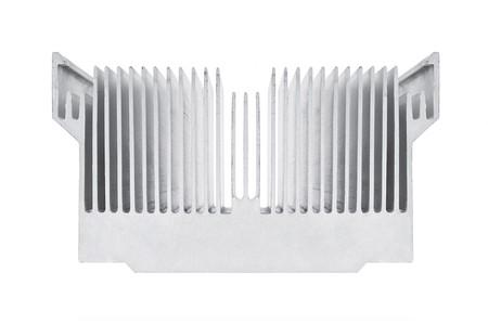Closeup of an alluminium cpu cooler isolated on white