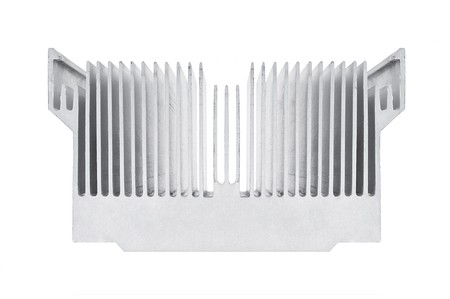 Closeup of an alluminium cpu cooler isolated on white
