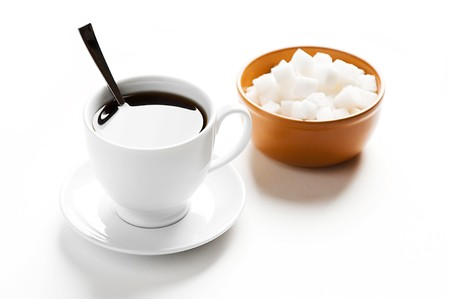 Cup of coffee and plate with sugar Stock Photo - 8258961