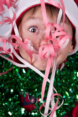 cute small new year boy with santa's hat Stock Photo - 8261582