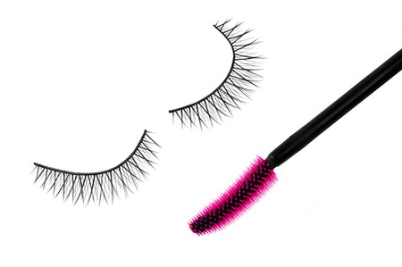 false eyelash and mascara Stock Photo