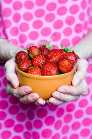 female hands full of delicious strawberries in bowl Stock Photo - 8261704