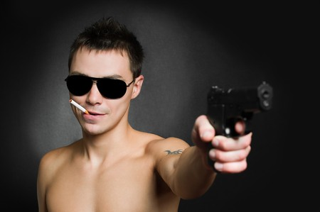 Man with gun photo