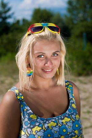Portrait of a beautiful blond woman outdoor Stock Photo
