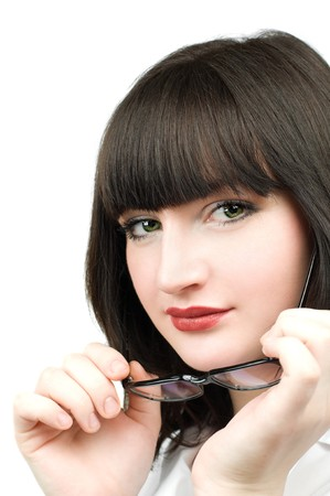 Portrait of a young Beautiful business woman with glasses in hands over white background