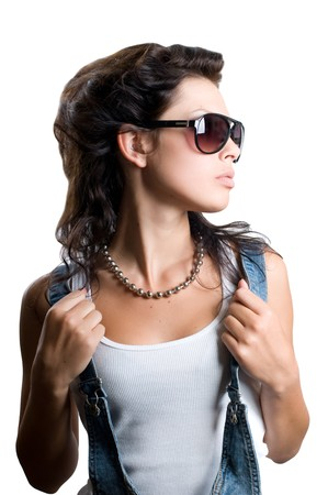 Pretty rock girl with magnificent hair isolated Stock Photo