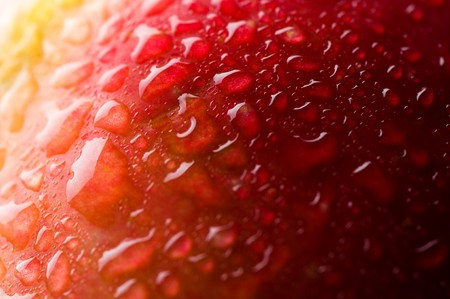 Red apple with water drops. Macro