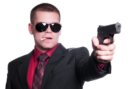 Sexy man with gun Stock Photo - 8261107