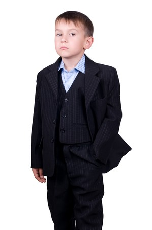 young boy in business wear isolated