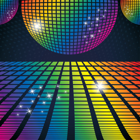 evening glow: Vector illustration of abstract party background with disco ball Illustration