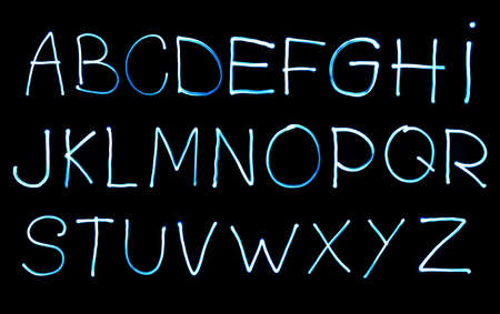 abstract illustration of the alphabet created with light Stock Photo