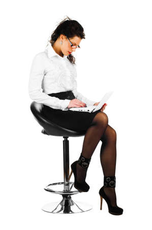brunette business woman with laptop isolated on white background Stock Photo - 8722027