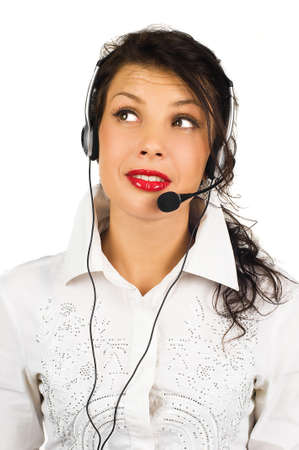 Portrait of female call centre wearing headset against white  Stock Photo - 9112141