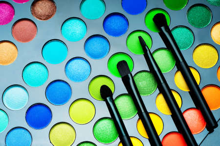 Palette of colorful eye shadows close-up. woman cosmetics.