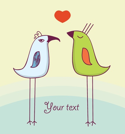 Two cute birds in love Illustration